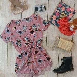 Floral pink ribbed lace romper